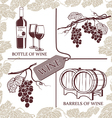 Set symbols on the theme of grapes red wine and vector image vector image