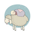 sleeping boy and cute cartoon sheep good night vector image vector image