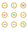 small lizard icons set cartoon style vector image vector image