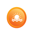 sun and sea button vector image vector image