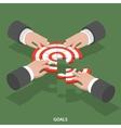 Team goals isometric flat concept vector image vector image