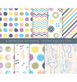 trendy retro various seamless pattern set vector image