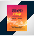 vibrant christmas snowflakes flyer design template vector image vector image