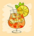 watercolor alcoholic cocktail or vector image