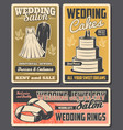 wedding rings cake bride dress and groom suits vector image vector image