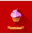 with a sweet cupcake in flat design style with vector image vector image