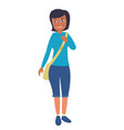 young african american female student go to school vector image