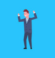 business man cheerful hold raised hands office vector image