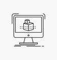 3d cube dimensional modelling sketch line icon vector image