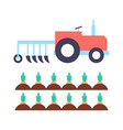 agrimotor with plough carrot vector image