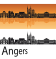 Angers skyline in orange background vector image vector image
