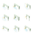 arch icons set isometric style vector image vector image