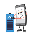 battery and mobile phone with face full charge vector image