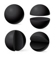 black sphere whole and in parts web 3d template vector image