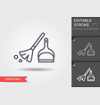 broom and dustpan line icon with editable stroke vector image vector image