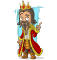 Cartoon bearded king with gold crown vector image vector image