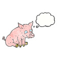 cartoon happy pig with thought bubble vector image vector image