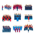 choir singing ensemble flat icons collection vector image vector image