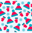 christmas seamless pattern with hats gloves and vector image vector image