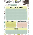colorful daily planner template cartoon organizer vector image