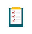 completing checklist on clipboard vector image vector image