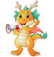cute dragon cartoon holding a loudspeaker vector image