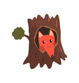 cute fox sitting in hollow of tree hollowed out vector image vector image