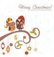 Cute winter christmas card of owls in hats vector | Price: 1 Credit (USD $1)