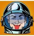 emoticon tongue Emoji face man astronaut retro vector image vector image