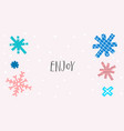 enjoy snow winter christmas snowflake season card vector image vector image