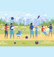 family with children rest at park flat vector image