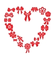 Frame heart of red ribbons vector image