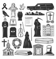 funeral symbols cemetery and death grief icons vector image vector image