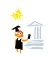 girl in a mantle and a square academic cap vector image vector image