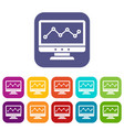graph in computer screen icons set vector image vector image