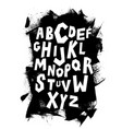 hand lettering font on grungy background alphabet vector image
