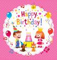 Happy Birthday cute kids card vector image vector image