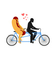 Hot dog on bicycle Lovers of cycling Man rolls vector image