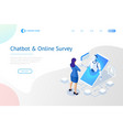isometric chat bot and online survey online exam vector image vector image