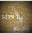 live music saxophone on a brick background vector image