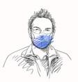 man in face mask for coronavirus prevention vector image