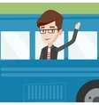 Man waving hand from bus window vector image vector image