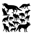 red fox animal silhouettes vector image vector image
