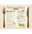 Restaurant Placemat Menu Design Template Layout vector image vector image
