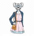 retro hipster fashion animal koala woman model