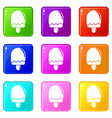 semicircular ice cream icons set 9 color vector image vector image