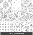 set 9 monochrome floral seamless pattern vector image vector image