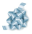 silver blue realistic gift bow with ribbon vector image