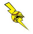 softball lightening bolt vector image