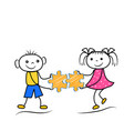 stickman boy and girl holding puzzle icons vector image vector image